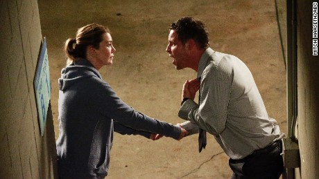 "Season 13 of ""Grey's Anatomy"" picked up right where the finale left off -- with Alex in a lot of trouble. Pictured: Ellen Pompeo and Justin Chambers."