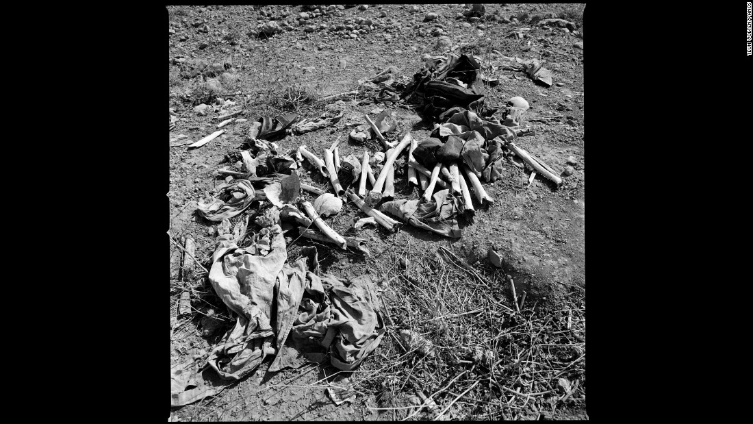 These human bones were dug up from mass graves near Sinjar. ISIS militants executed men and boys from the Yazidi minority group.