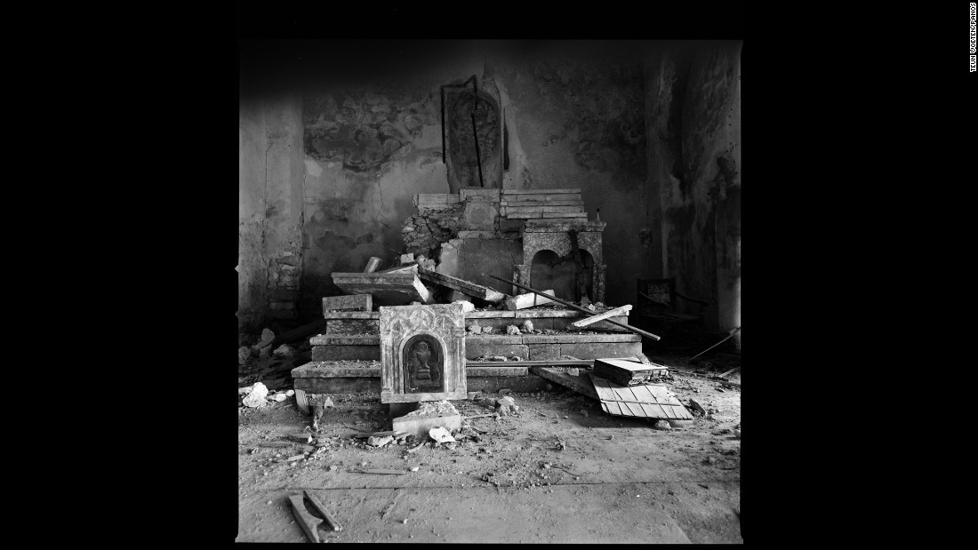 The remnants of a ransacked church on Mount Sinjar.