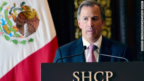 Mexico's new Secretary of Finance, Antonio Meade delivers a speech during a press conference at the Palacio Nacional in Mexico City on September 7, 2016. Mexico's finance minister Luis Videgaray stepped down on Wednesday, a surprise move that follows his reported key role in Donald Trump's controversial meeting with President Enrique Pena Nieto.  / AFP / ALFREDO ESTRELLA        (Photo credit should read ALFREDO ESTRELLA/AFP/Getty Images)