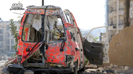 A destroyed ambulance pictured in the aftermath of airsrikes on eastern Aleppo.