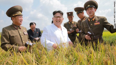 This undated picture released from North Korea's official Korean Central News Agency (KCNA) on September 13, 2016 shows North Korean leader Kim Jong-Un (C) inspecting Farm No. 1116 under KPA Unit 810 at an undisclosed location in North Korea. / AFP / KCNA / KCNA        (Photo credit should read KCNA/AFP/Getty Images)