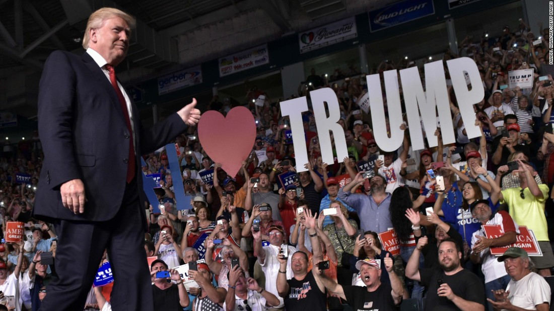 Republican presidential nominee Donald Trump arrives to speak at a campaign rally in Estero, Florida, on Monday, September 19.