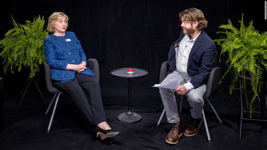 """Democratic presidential nominee Hillary Clinton appears with actor Zach Galifianakis in an episode of the online comedy series """"Between Two Ferns."""" The video was released Thursday, September 22, by the website Funny or Die."""