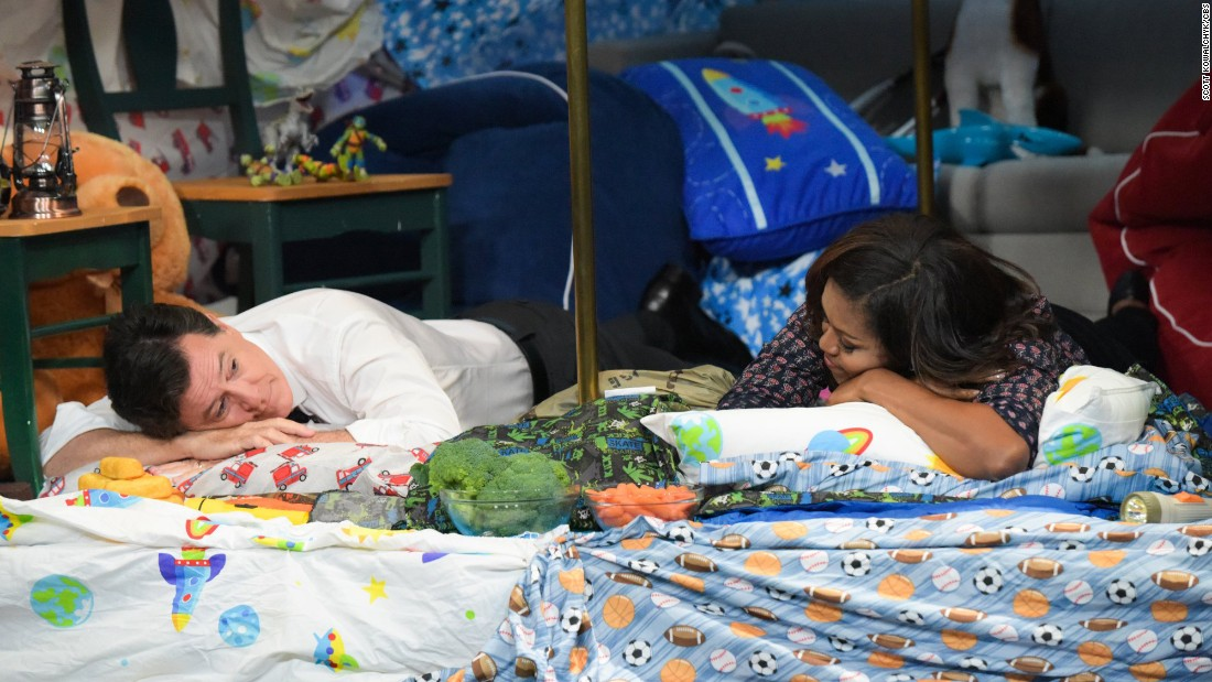 """First lady Michelle Obama appears on """"The Late Show with Stephen Colbert"""" on Tuesday, September 20. The two did a skit together in a """"blanket fort."""""""