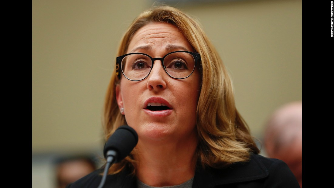 """Mylan Chief Executive  Heather Bresch testifies before the US House Oversight Committee on Wednesday, September 21. Bresch <a href=""""http://money.cnn.com/2016/09/21/news/companies/mylan-epipen-house-oversight-committee/"""" target=""""_blank"""">defended the cost increase of life-saving EpiPens</a> and said the company has no plans to lower prices despite a public outcry and questions from skeptical lawmakers. The pen injects a dose of epinephrine to stop life-threatening allergic reactions."""
