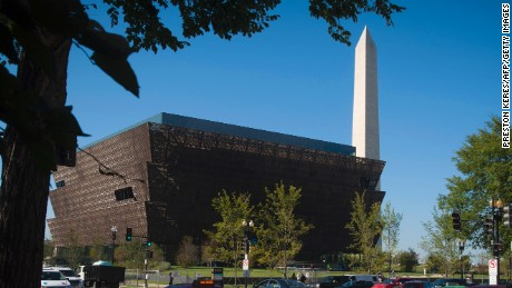 An outside view is seen during a press preview at the Smithsonian's National Museum of African American History and Culture in Washington, DC on September 14, 2016. / AFP / PRESTON KERES        (Photo credit should read PRESTON KERES/AFP/Getty Images)
