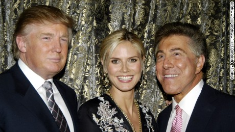 """""""This guy is a character. Most of my buddies are characters,"""" Steve Wynn (R) says of Donald Trump (L), seen here with Heidi Klum."""