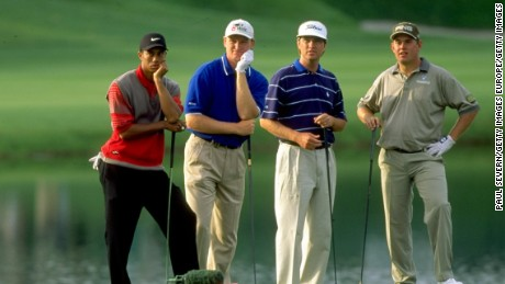 The rivalry between Englishman Lee Westwood (far right) and American Davis Love III (second from right) stretches back to their peaks two decades ago. This 1998 photo features Ernie Els (second from right) and Tiger Woods, whose selection as Ryder Cup vice-captain Westwood has questioned.