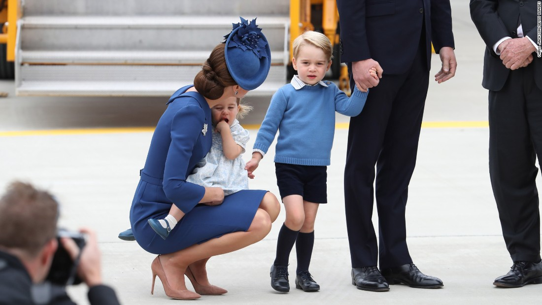 Catherine arrives with Princess Charlotte and Prince George at Victoria International Airport on September 24.