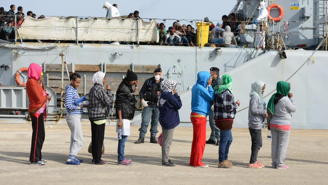 Women and children are often first ones to leave the rescue vessels.