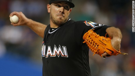 DO NOT USE Jose Fernandez of the Miami Marlins delivers a pitch against the Mets in August 2016 in New York.
