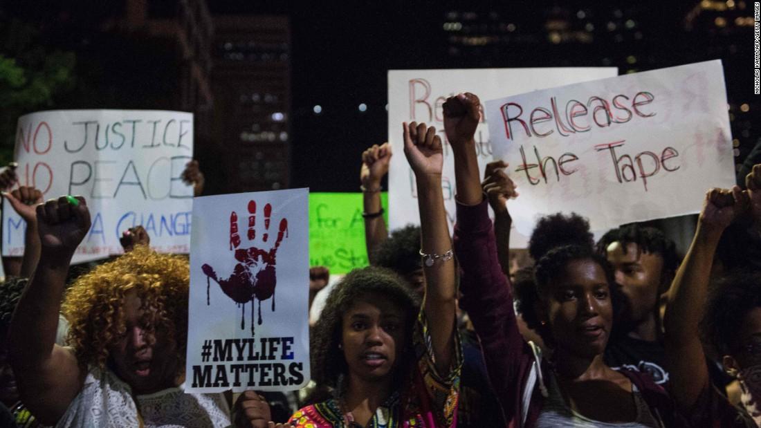 Protesters march in Charlotte on September 23.