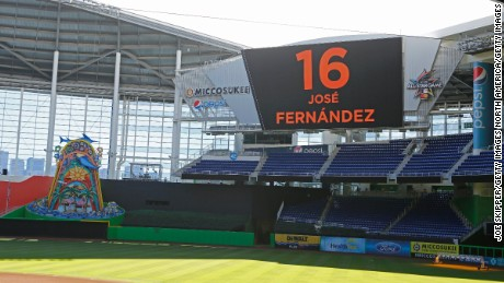 MIAMI, FL - SEPTEMBER 25:  The scoreboard at Marlins Park displays the name and number of pitcher Jose Fernanedez who died in a boating accident after  play was cancelled between the Miami Marlins and the Atlanta Braves on September 25, 2016 in Miami, Florida.  (Photo by Joe Skipper/Getty Images)