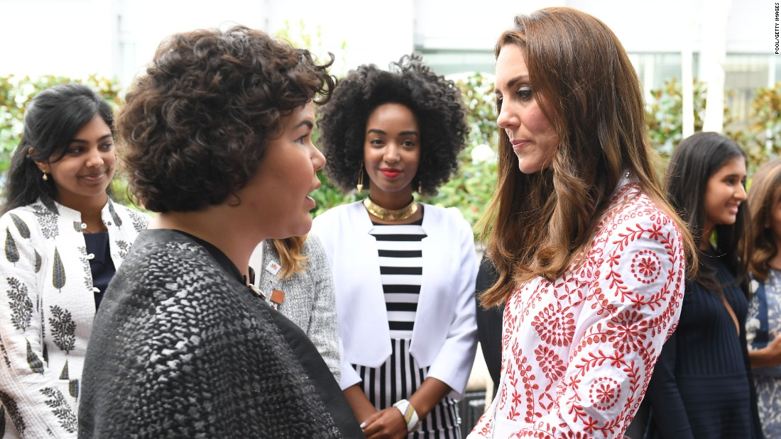 Catherine chats with guests at a reception for young Canadians at the Telus Gardens in Vancouver.