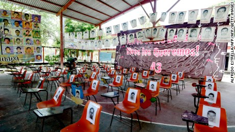 View inside the assembly hall of the Raul Isidro Burgos rural teaching school in Ayotzinapa, Guerrero state, Mexico on September 21, 2016.  A UN human rights official met Wednesday with parents of 43 Mexican students missing since 2014 and praised the much-criticized authorities for looking into new lines of investigation in the unsolved case. / AFP / ALFREDO ESTRELLA / TO GO WITH AFP STORY BY DAVID SANTA CRUZ         (Photo credit should read ALFREDO ESTRELLA/AFP/Getty Images)