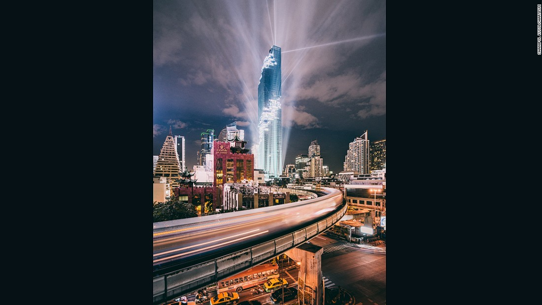 """This photo was taken during the recent grand opening event at Thailand's new tallest building, MahaNakhon Tower. """"The light show was epic,"""" says Chanipol."""