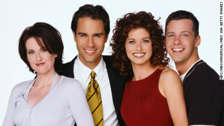 The cast of 'Will & Grace' from Season 1 of the NBC series. Pictured: Megan Mullally as Karen Walker, Eric McCormack as Will Truman, Debra Messing as Grace Adler, Sean Hayes as Jack McFarland.