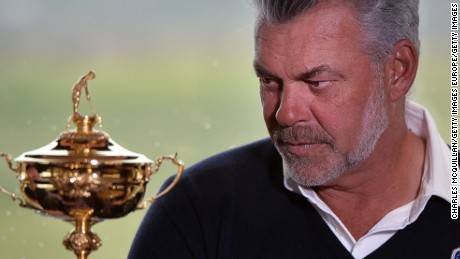 PORTRUSH, NORTHERN IRELAND - APRIL 12:  European Ryder Cup captain Darren Clarke stares intently at the trophy as he holds a press conference at Royal Portrush golf club as part of the Ryder Cup Trophy Tour launch on April 12, 2016 in Portrush, Northern Ireland. The Ryder Cup Trophy Tour will visit several locations across Europe over the coming months to promote the 2016 Ryder Cup which will be held at Hazeltine National Golf Club in Minnesota, from September 30th. (Photo by Charles McQuillan/Getty Images)