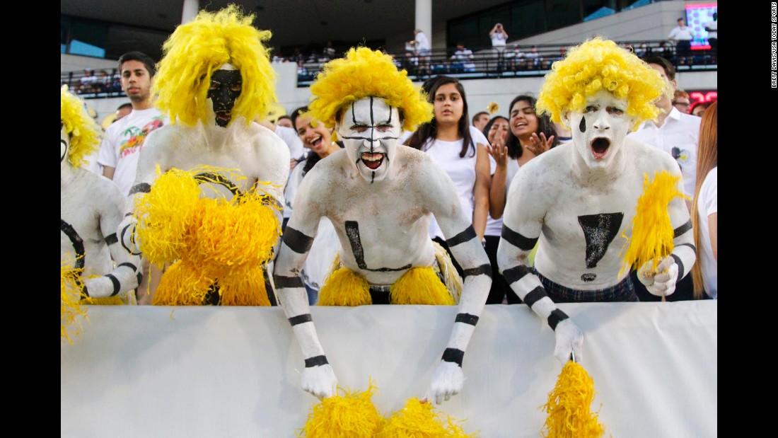 Georgia Tech fans cheer on their football team against Clemson on Thursday, September 22.
