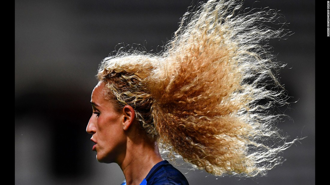 French midfielder Kheira Hamraoui plays in a Euro 2017 qualifying match on Tuesday, September 20.