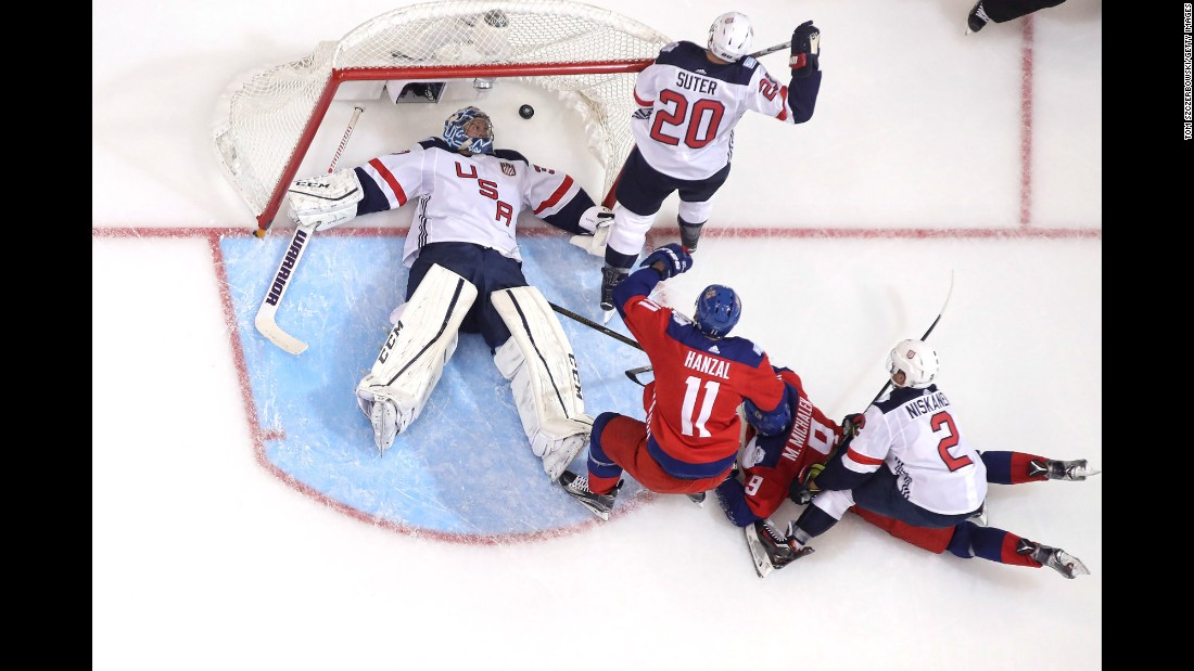 A goalmouth scramble ended with a Czech Republic goal during a World Cup game on Thursday, September 22. The Czechs won 4-3 but neither team advanced out of the tournament's group stage.