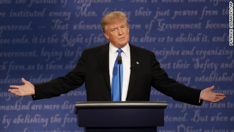 Republican presidential nominee Donald Trump speaks during the presidential debate with Democratic presidential nominee Hillary Clinton at Hofstra University in Hempstead, N.Y., Monday, Sept. 26, 2016. (AP Photo/Patrick Semansky)
