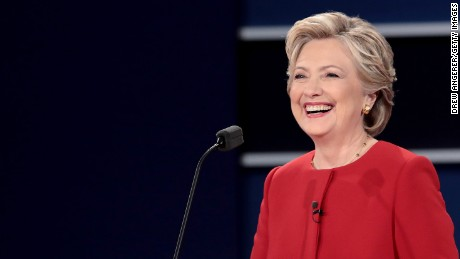 HEMPSTEAD, NY - SEPTEMBER 26:  Democratic presidential nominee Hillary Clinton smiles during the Presidential Debate at Hofstra University on September 26, 2016 in Hempstead, New York.  The first of four debates for the 2016 Election, three Presidential and one Vice Presidential, is moderated by NBC's Lester Holt.  (Photo by Drew Angerer/Getty Images)