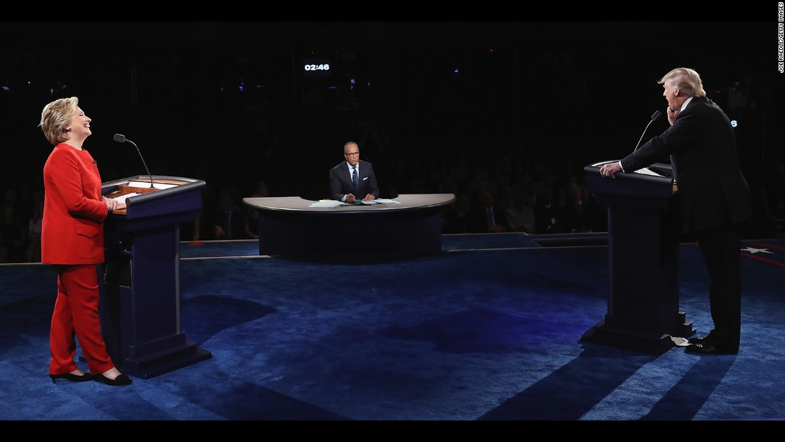 NBC's Lester Holt moderated the debate, which was held at Hofstra University in Hempstead, New York.