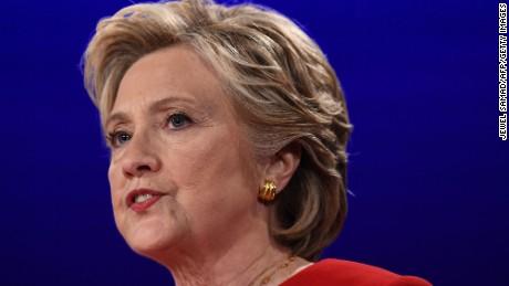 Democratic nominee Hillary Clinton speaks during the first presidential debate at Hofstra University in Hempstead, New York on September 26, 2016.
