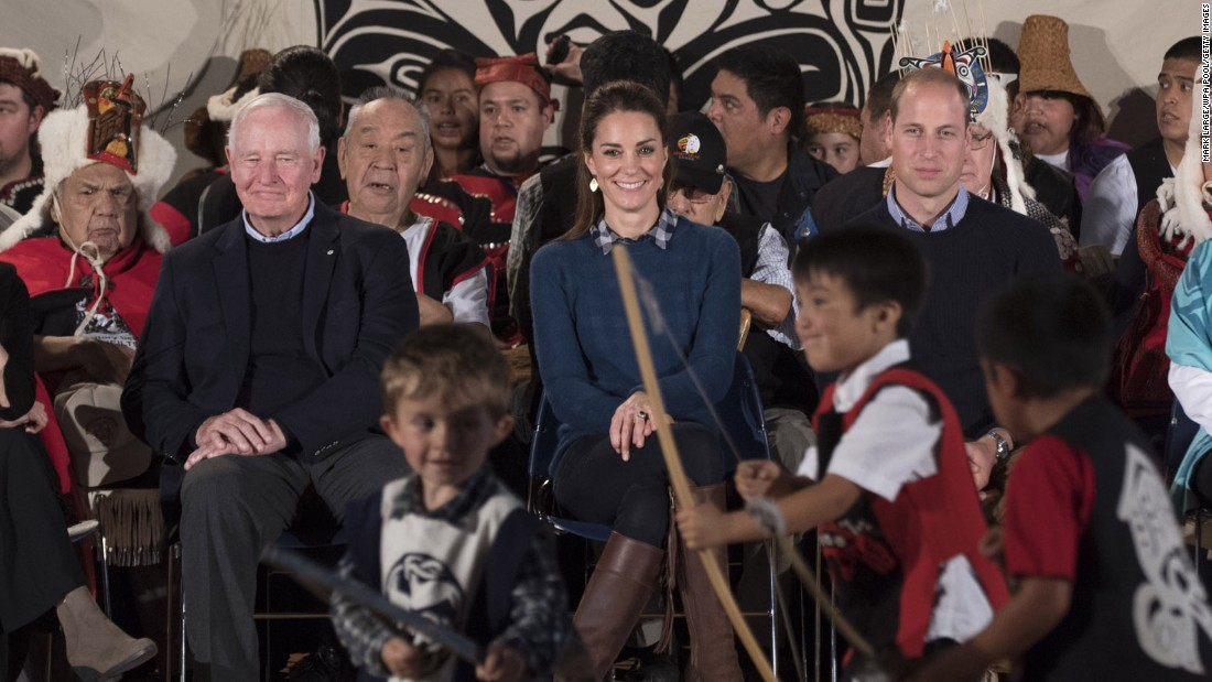 Catherine and William attend a performance while visiting First Nations community members in Bella Bella on Sunday, September 25.