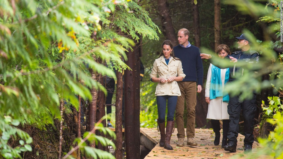 The royals stroll through the Great Bear Rainforest on September 26.