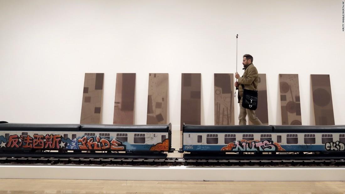 The train has been tagged by graffiti artists from the cities in which it has previously been exhibited.