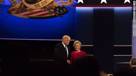Hillary Clinton and Donald Trump shake hands at the first presidential debate on September 26, 2016, in Hempstead, New York.