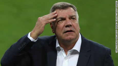 TRNAVA, SLOVAKIA - SEPTEMBER 03:  Manager Sam Allardyce rubs his forehead as he inspects the pitch prior to the FIFA World Cup Qualifying Group F match against Slovakia at City Arena on September 3, 2016 in Trnava, Slovakia.  (Photo by Christopher Lee/Getty Images)
