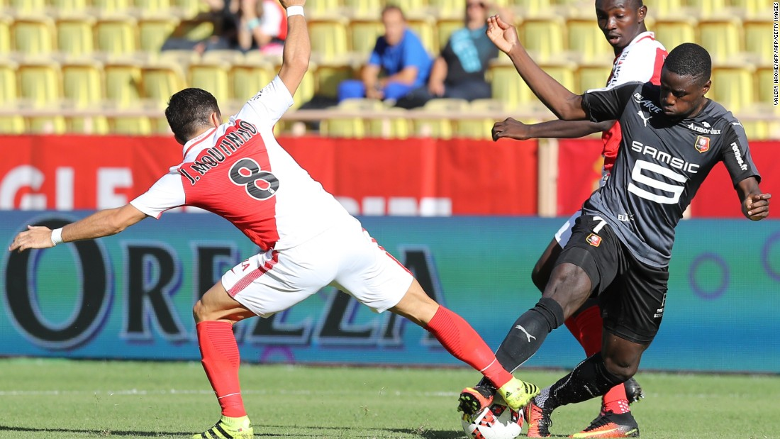 In July 2016, midfielder Joao Moutinho (left) won the Euros with Portugal in front of 75,000 people. In Monaco, he plays in front of sparser crowds. He is pictured vying for the ball with Rennes' forward Paul-Georges Ntep.