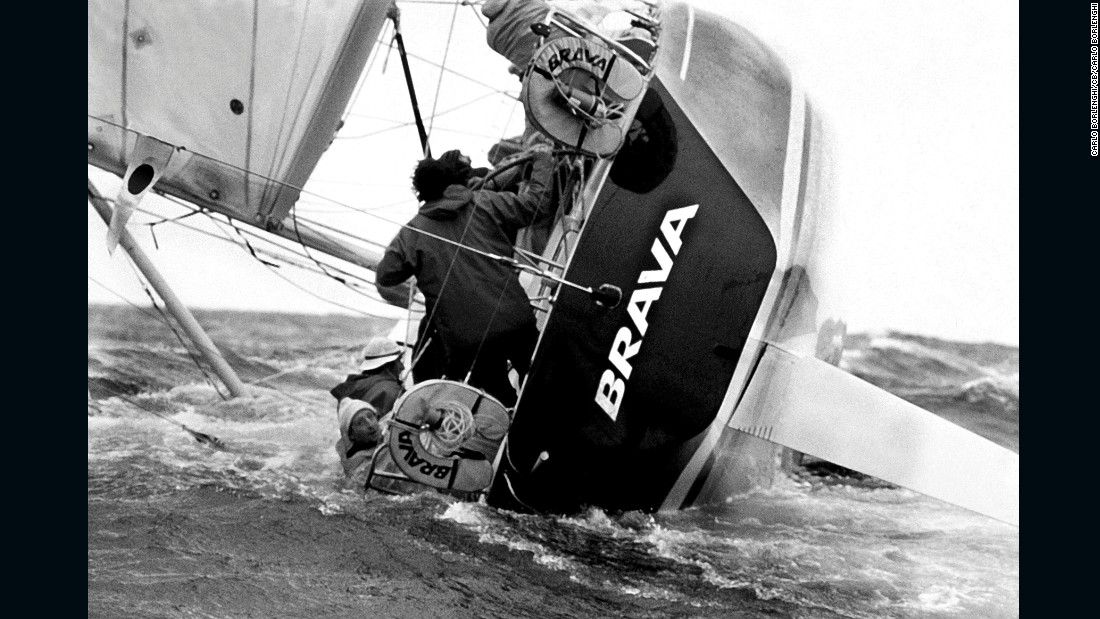 """""""I like this because it was my first very famous picture, it's very important to me. From 1980, it is of course Brava broaching. Lots of action on board, but at the same time, Pasquale Landolfi just looking back at the camera."""""""