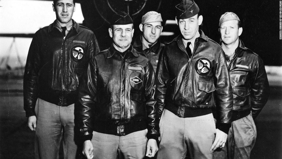 """The crew of the lead aircraft included (from left): navigator Lt. Henry """"Hank"""" Potter, pilot Lt. Col. James """"Jimmy"""" Doolittle, bombardier Staff Sgt. Fred Braemer, co-pilot Lt. Richard """"Dick"""" Cole and engineer/gunner Staff Sgt. Paul Leonard."""