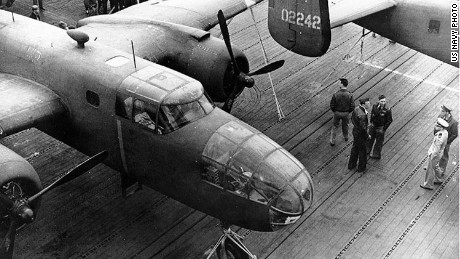 Army B-25B bombers parked on the flight deck of USS Hornet in 1942 before the Doolittle raid on Japan.