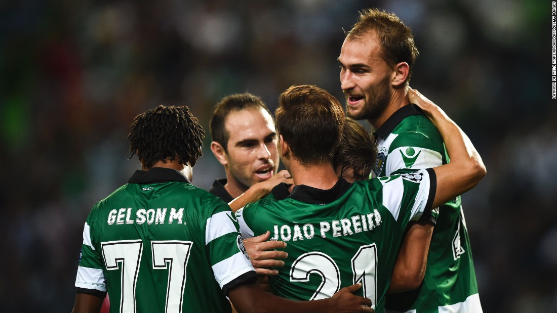 Sporting's Dutch forward Bas Dost scored his side's second in the 2-0 win over Legia Warsaw in Lisbon.