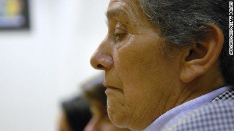 """LONDON, United Kingdom:  Emperatriz De Guevara, the mother of a Colombian police captain who was kidnapped by members of FARC attends a press conference in central London, 30 October 2006, as part of a campaign entitled """"The Cocaine Curse"""" consisting of five Colombian women who have been victims of the terrorism financed by cocaine. The victims will seek to raise awareness to Europeans of the fact that when a person uses cocaine he not only does damage to himself, but he is also financing the growth and commercialization of the drug. The visit by the five women comes ahead of a visit to Britain by Colombian Vice-President Francisco Santos Calderon later this week. AFP PHOTO/BERTRAND LANGLOIS  (Photo credit should read BERTRAND LANGLOIS/AFP/Getty Images)"""