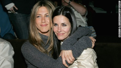 "LOS ANGELES, CA - APRIL 11:  Actors Jennifer Aniston and Courteney Cox attend the after party at the L.A. premiere for ""The Tripper"" held at the Hollywood Forever Cemetary on April 11, 2007 in Los Angeles, California. (Photo by Alberto E. Rodriguez/Getty Images)"