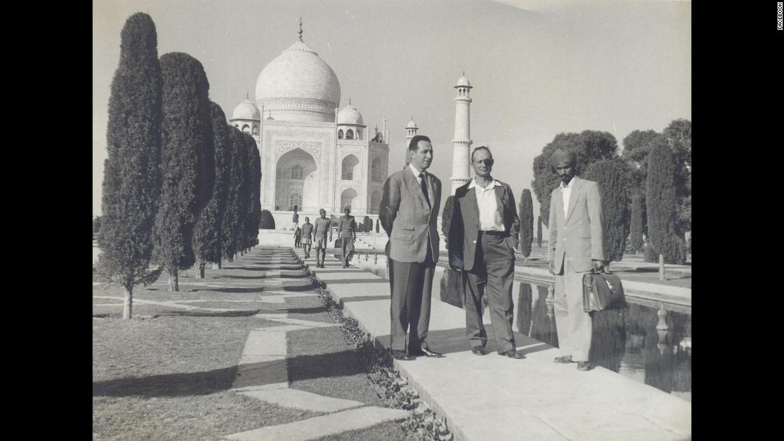 Peres is seen here at left with Moshe Dayan, center, an Israeli military leader and politician, at the Taj Mahal in India, circa 1950. Peres entered politics in 1959 as a member of the left-wing Mapai party, a precursor to the modern Labor party. His political career lasted more than half a century, and he held virtually every position in Israel's Cabinet.