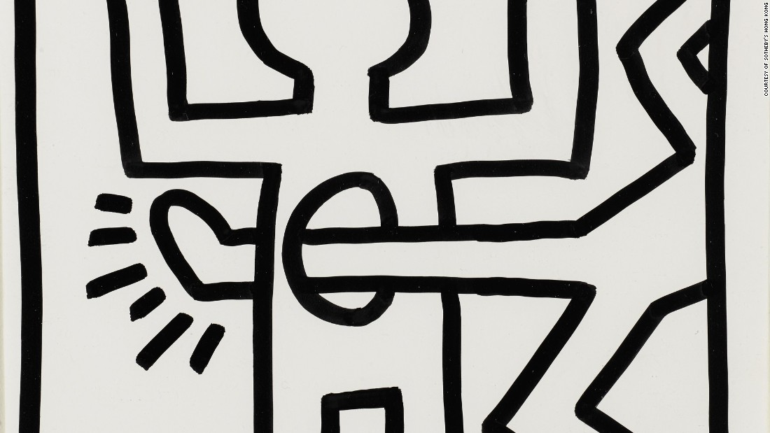 Haring first rose to prominence in the early 1980s with graffiti drawings he made on the streets and subways of New York. His bulky lines and angular figures can still found on some New York City walls today.