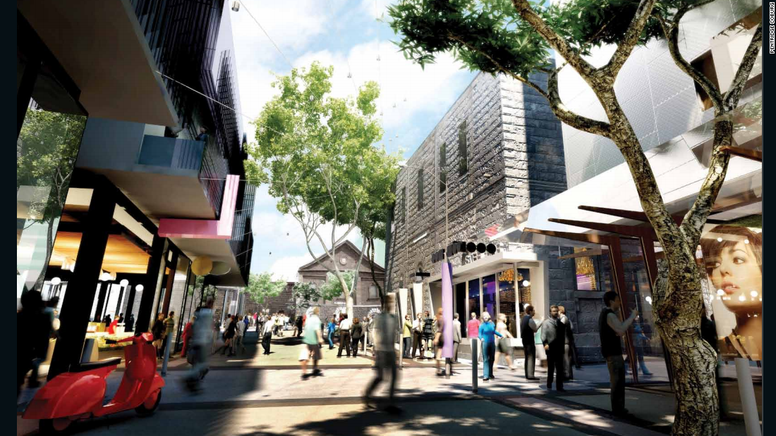 An artist's impression of what the precinct will look like once completed. The area is located north of Melbourne's central business district.