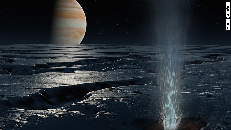 A geyser on Europa -- a moon of Jupiter  -- as envisaged by Mark Garlick