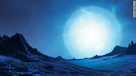 Here, Garlick imagines the view from the surface of a rocky world orbiting a blue giant star