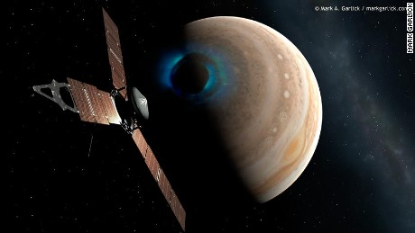 NASA probe Juno is investigating Jupiter's atmosphere and magnetic field