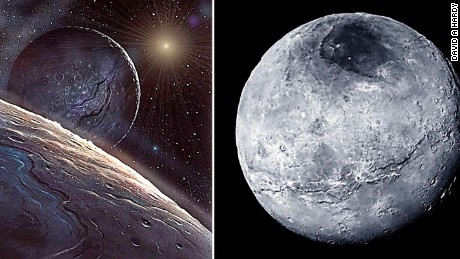 The New Horizon mission returned some detailed pictures of Pluto (right) and closely resembled Hardy's painting of it