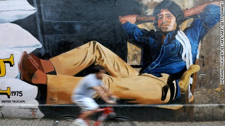 A mural of Amitabh Bachchan from his classic film 'Deewar' in Mumbai, 2012.